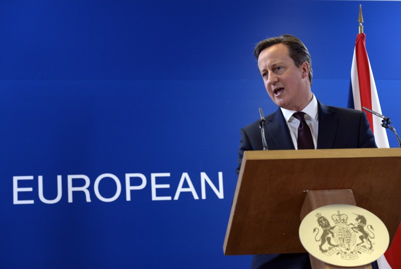 British Prime Minister David Cameron talks to the media at the end of a European Union Summit held at the EU Council building in Brussels on March 20, 2015.  AFP PHOTO / THIERRY CHARLIER        (Photo credit should read THIERRY CHARLIER/AFP/Getty Images)