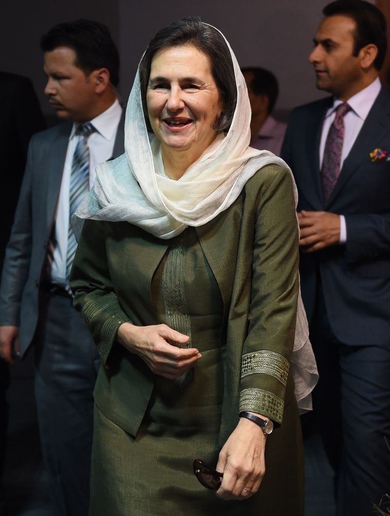 "Afghanistan's First Lady Rula Ghani arrives for a conference at Jamia Millia Islamia university in New Delhi on April 15, 2015. Ghani delivered a keynote address at the conference on ""Gender Community and Violence"" to empower women in the region. AFP PHOTO/MONEY SHARMA        (Photo credit should read MONEY SHARMA/AFP/Getty Images)"