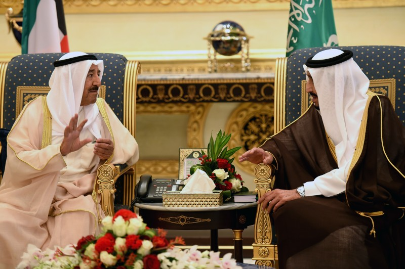 Saudi King Salman bin Abdulaziz (R) meets with Kuwait's Sheikh Sabah al-Ahmad al-Sabah during the Gulf Cooperation Council (GCC) summit in Riyadh on May 5, 2015. The GCC summit came amid mounting international concern over the Saudi-led air war on Shiite rebels in Yemen, the threat from jihadists and Gulf worries over their Shiite rival Iran.  AFP PHOTO / FAYEZ NURELDINE        (Photo credit should read FAYEZ NURELDINE/AFP/Getty Images)