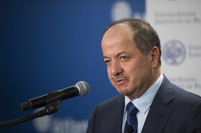 """President of the Kurdistan region of Iraq, Masoud Barzani speaks at the Atlantic Council in Washington, DC, May 6, 2015. Barzani met May 5 with US President Barack Obama, who praised the """"courage"""" of the Kurdish peshmergas, key pieces of land in combating jihadists the Islamic State. President Obama and Vice President Joe Biden reaffirmed support """"strong and continuous"""" Washington to the autonomous region of Iraqi Kurdistan and the Kurdish people.  AFP PHOTO/JIM WATSON        (Photo credit should read JIM WATSON/AFP/Getty Images)"""