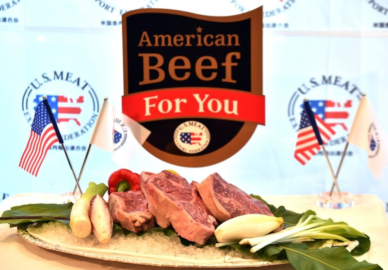 US beef is displayed under a newly designed brand mark at a press conference in Tokyo on March 2, 2015. US Meat Export Federation (USMEF) president Philip Seng is now here to promote more US meat consumption in the Japanese market. Japan and US governments are now in talks to lower tariffs on imported US beef and pork under the Trans Pacific Partnership (TPP).    AFP PHOTO / Yoshikazu TSUNO        (Photo credit should read YOSHIKAZU TSUNO/AFP/Getty Images)