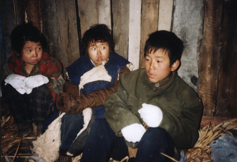 Photo released by the Korean Buddhist Sharing Movement Wednesday Dec. 17, 1997 showing North Korean refugee teen-agers hiding in a farm barn in Chang Bai, China Oct. 19, 1997. The organization discussed the famine in North Korea during a news conference in Washington Wednesday Dec. 17, 1997.  (AP Photo/Pomnyun/Korean Buddhist Sharing Movement)