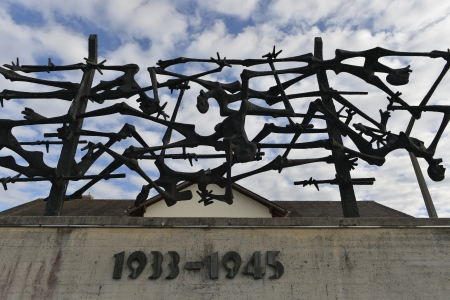 A sculpture created by the Yugoslav artists Nandor Glid is pictured at the International Concentration Camp memorial in Dachau, southern Germany as German Chancellor Angela Merkel visits the Camp on August 20, 2013.  AFP PHOTO / GUENTER SCHIFFMANN        (Photo credit should read GUENTER SCHIFFMANN/AFP/Getty Images)