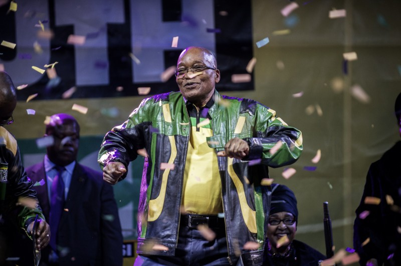 South Africa and African National Congress President Jacob Zuma addresses supporters during a rally celebrating the ANC election victory on May 10, 2014 in Johannesburg, South Africa. AFP PHOTO/GIANLUIGI GUERCIA        (Photo credit should read GIANLUIGI GUERCIA/AFP/Getty Images)
