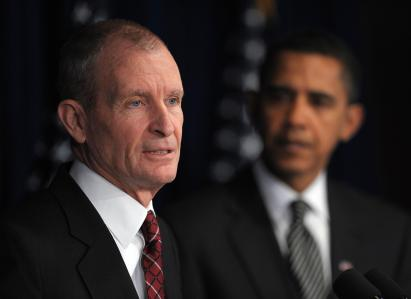 Retired admiral Dennis Blair speaks after being nominated as national intelligence director by US President-elect Barack Obama during a press conference January 9, 2009 at the Presidential Transition Office in Washington, DC. Looking on is CIA director nominee Leon Panetta. AFP PHOTO/Mandel NGAN (Photo credit should read MANDEL NGAN/AFP/Getty Images)