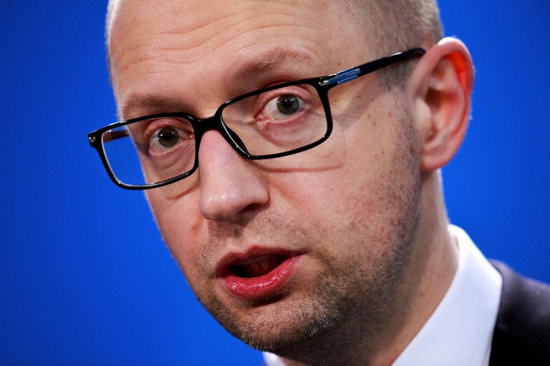 BERLIN, GERMANY - APRIL 01:  Ukrainian Prime Minister Arseniy Yatsenyuk attends a press conference  with German Chancellor Angela Merkel (not pictured) following talks at the Chancellery on April 1, 2015 in Berlin, Germany. Yatsenyuk and Merkel met to discuss the tense situation in eastern Ukraine, among other issues.  (Photo by Carsten Koall/Getty Images)