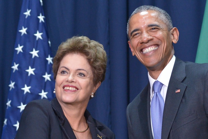 US President Barack Obama (R) poses with Brazilian President Dilma Rousseff during a meeting on the sidelines of the Summit of the Americas at the ATLAPA Convention center on April 11, 2015 in Panama City. AFP PHOTO/MANDEL NGAN        (Photo credit should read MANDEL NGAN/AFP/Getty Images)