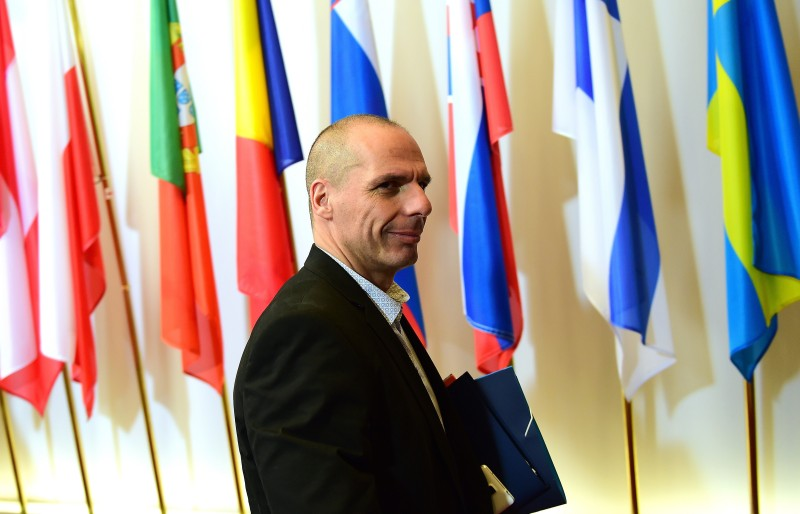 Greek Finance Minister Yanis Varoufakis arrives on May 12, 2015 for an Economic and Financial Affairs Council meeting at the European Council in Brussels. AFP PHOTO / EMMANUEL DUNAND        (Photo credit should read EMMANUEL DUNAND/AFP/Getty Images)