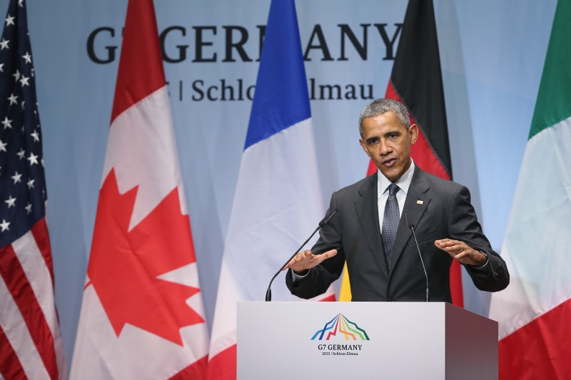 GARMISCH-PARTENKIRCHEN, GERMANY - JUNE 08:  U.S. President Barack Obama speaks to the media at the conclusion of the summit of G7 nations at Schloss Elmau on June 8, 2015 near Garmisch-Partenkirchen, Germany. In the course of the two-day summit G7 leaders discussed global economic, health, climate and security issues.  (Photo by Sean Gallup/Getty Images)