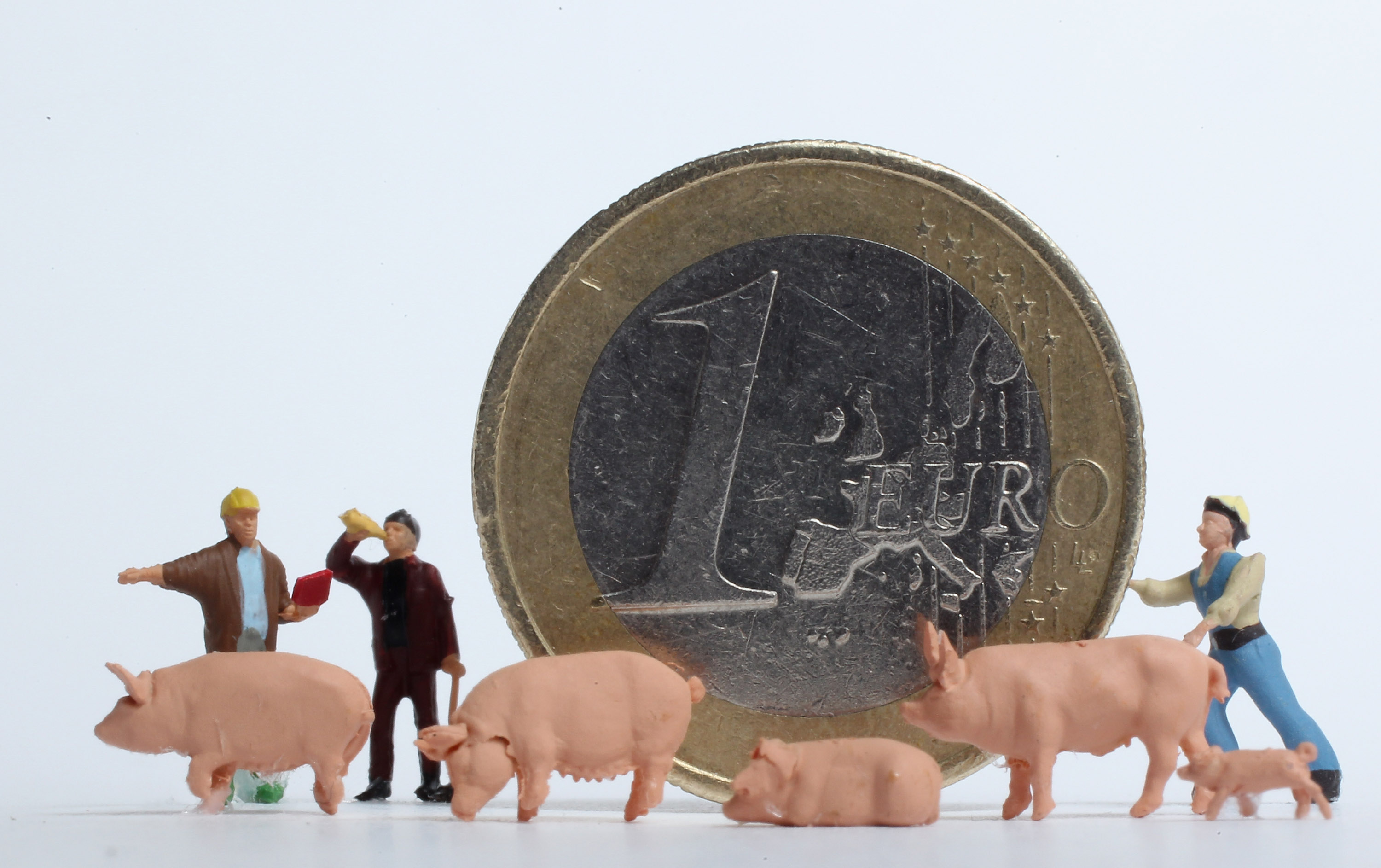 BERLIN, GERMANY - DECEMBER 15: In this photo illustration plastic, toy construction workers and pigs stand around a one Euro coin on December 15, 2010 in Berlin, Germany. European leaders are scheduled to meet at a European Union summit in Brussels tomorrow to discuss measures on how to stabilize the Euro that could include the creation of a permanent eurozone bailout system. The Euro has come under severe strain in the last year through the economic problems of some of its members, and a group of nations nicknamed the PIIGS (Portugal, Ireland, Italy, Greece and Spain) have been named by many analysts as the countries posing the biggest threat to the common currency's stability. (Photo Illustration by Sean Gallup/Getty Images)