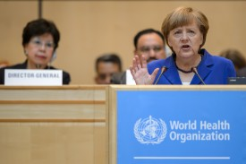 German Chancellor Angela Merkel addresses the World Health Organization (WHO) general assembly on May 18, 2015 in Geneva.  AFP PHOTO / FABRICE COFFRINI        (Photo credit should read FABRICE COFFRINI/AFP/Getty Images)