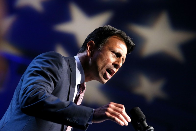 KENNER, LA - JUNE 24:  Louisiana Governor Bobby Jindal announces his candidacy for the 2016 Presidential nomination during a rally a he Pontchartrain Center on June 24, 2015 in Kenner, Louisiana.  (Photo by Sean Gardner/Getty Images)
