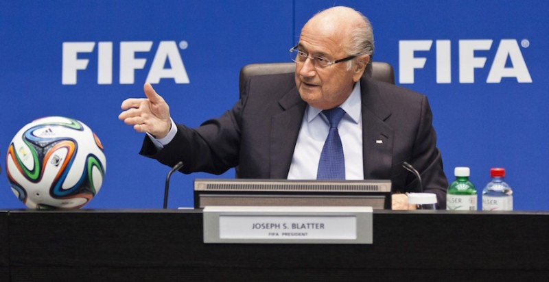 FIFA President Sepp Blatter speaks during a press conference following an executive meeting of the world football governing body at the Home of FIFA on March 21, 2014 in Zurich. A report on the rights of migrant workers involved in the construction of sports infrastructure in Qatar ahead of the 2022 World Cup and an update on the 2014 FIFA World Cup in Brazil were on the agenda. AFP PHOTO / MICHAEL BUHOLZER        (Photo credit should read MICHAEL BUHOLZER/AFP/Getty Images)