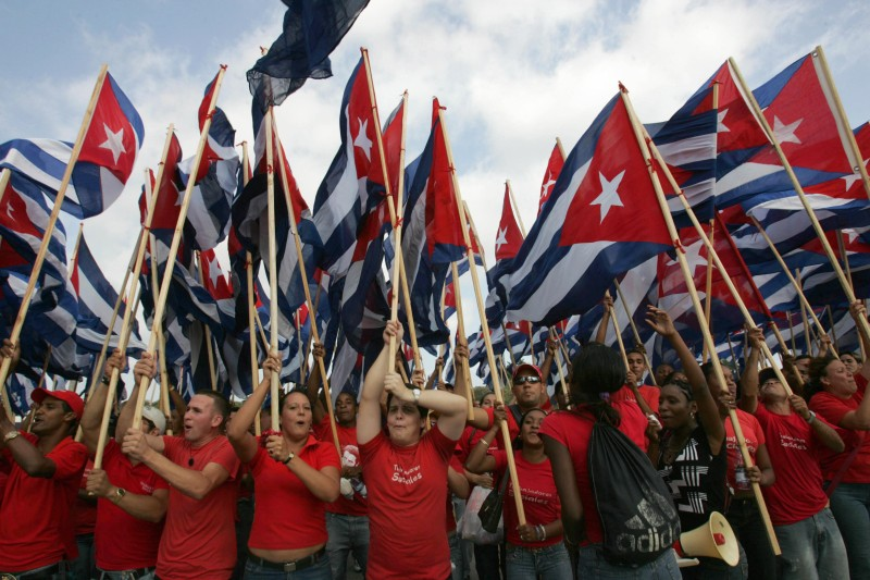 A crowd estimated at more than 500 thousand Cuban workers participate in the May Day parade in Havana, on May 01, 2008.      AFP PHOTO/STR (Photo credit should read STR/AFP/Getty Images)