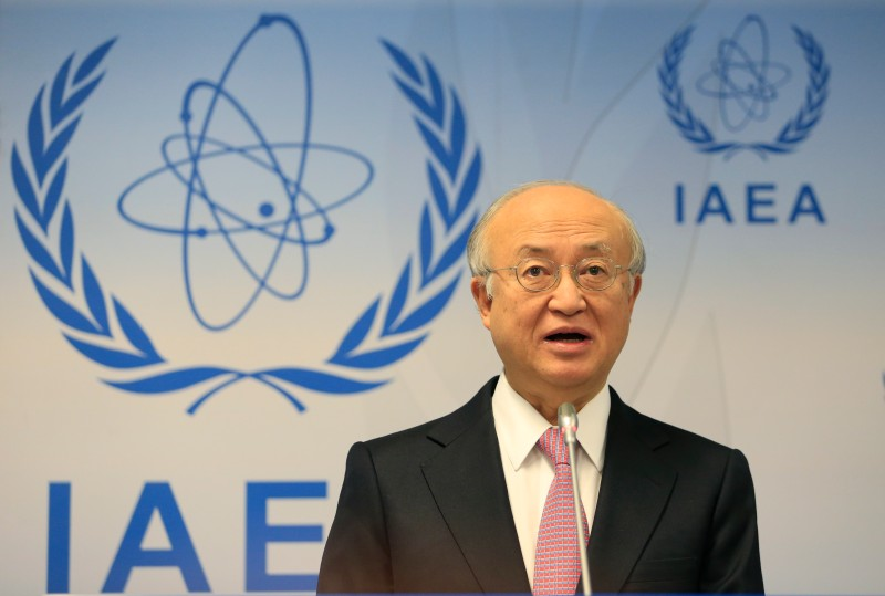 International Atomic Energy Agency (IAEA) General-Director Yukiya Amano addresses a press conference as part of the Board of Governors meeting at the UN atomic agency headquarters in Vienna on November 28, 2013. Amano said that Iran has invited the agency to visit the heavy water production plant at Arak on December 8, in what would be the first inspection there since August 2011. AFP PHOTO / ALEXANDER KLEIN        (Photo credit should read ALEXANDER KLEIN/AFP/Getty Images)