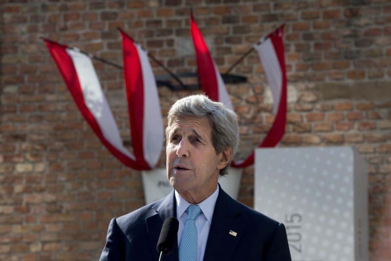 "US Secretary of State John Kerry gives a press conference outside the Palais Coburg Hotel, where the Iran nuclear talks meetings are being held, in Vienna, Austria on July 5, 2015. Kerry said that ""it is now time"" to finalise a historic nuclear deal with Iran, on a ninth day of talks in Vienna between Tehran and major powers. AFP PHOTO / JOE KLAMAR        (Photo credit should read JOE KLAMAR/AFP/Getty Images)"