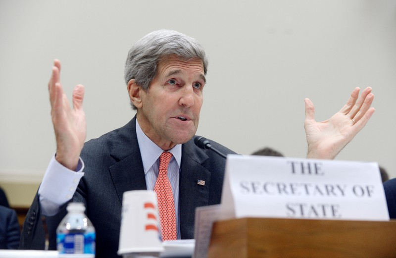 WASHINGTON, DC - JULY 28: U.S. Secretary of State John Kerry testifies during a hearing before the  House Foreign Affairs Committee July 28, 2015 on Capitol Hill in Washington, DC. The committee is reviewing the proposed Iran nuclear agreement. (Photo by Olivier Douliery/Getty Images)