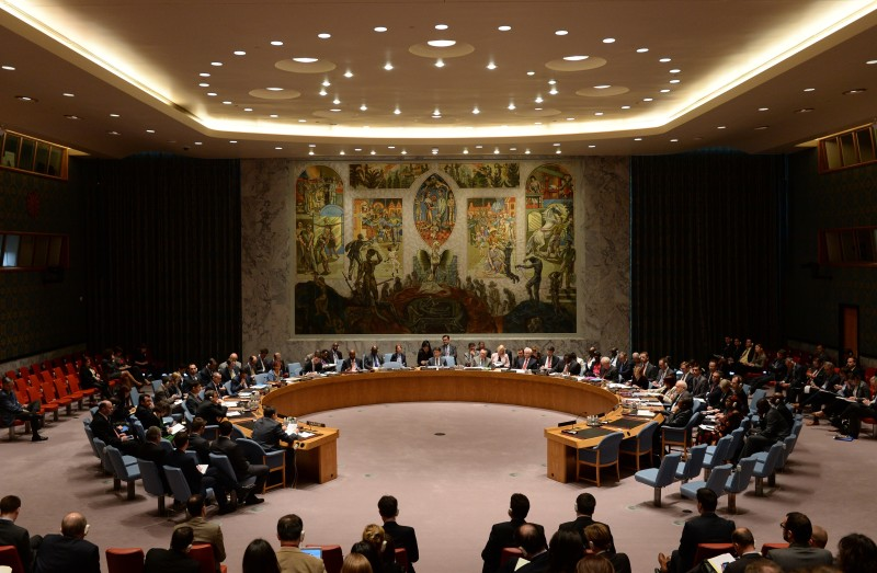 "The United Nations Security Council meets on Ukraine May 2, 2014 at UN headquarters in New York. Russia warned Ukraine of ""catastrophic consequences"" unless it halted a military operation against pro-Russian gunmen while Western powers rounded on Moscow at emergency UN talks.   AFP PHOTO/Stan HONDA        (Photo credit should read STAN HONDA/AFP/Getty Images)"