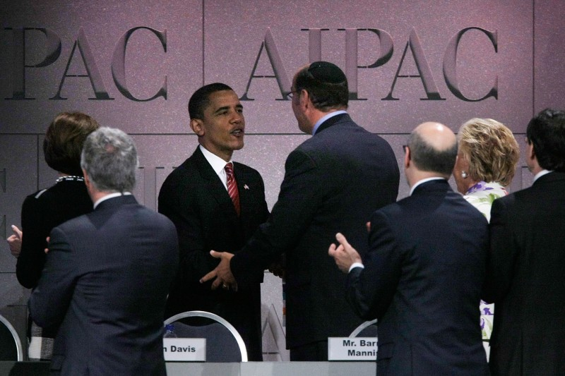 WASHINGTON - JUNE 04:  Democratic U.S. presidential candidate Sen. Barack Obama (D-IL) shakes hands with senior AIPAC officials after he addressed the 2008 American Israel Public Affairs Committee (AIPAC) Policy Conference at the Washington Convention Center June 4, 2008 in Washington, DC. Obama has claimed his party's nomination after his delegate count surpassed 2,118.  (Photo by Alex Wong/Getty Images)