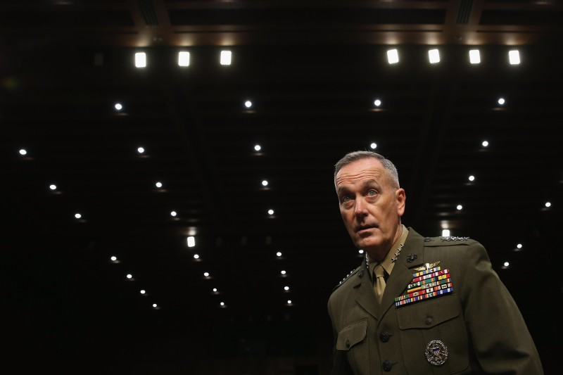 WASHINGTON, DC - JULY 09:  Commandant of the U.S. Marine Corps General Joseph Dunford Jr. arrives for his confirmation hearing before the Senate Armed Services Committee to be the next chairman of the Joint Chiefs of Staff in the Hart Senate Office Building on Capitol Hill July 9, 2015 in Washington, DC. During testimony, Dunford identified Russia as the biggest threat facing the United States and that if budget sequestration was to continue, the U.S. military will face 'catastrophic consequences.'  (Photo by Chip Somodevilla/Getty Images)