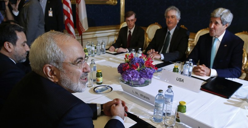 Iran's Foreign Minister Mohammad Javad Zarif (L) meets with US Secretary of State John Kerry (R) during talks between the foreign ministers of the six powers negotiating with Tehran on its nuclear program, in Vienna, on July 13, 2014. Big difference remained in nuclear talks between world powers and Iran on Sunday with fears that an agreement may not be reached before the deadline next week.  AFP PHOTO / POOL/ JIM BOURG        (Photo credit should read JIM BOURG/AFP/Getty Images)