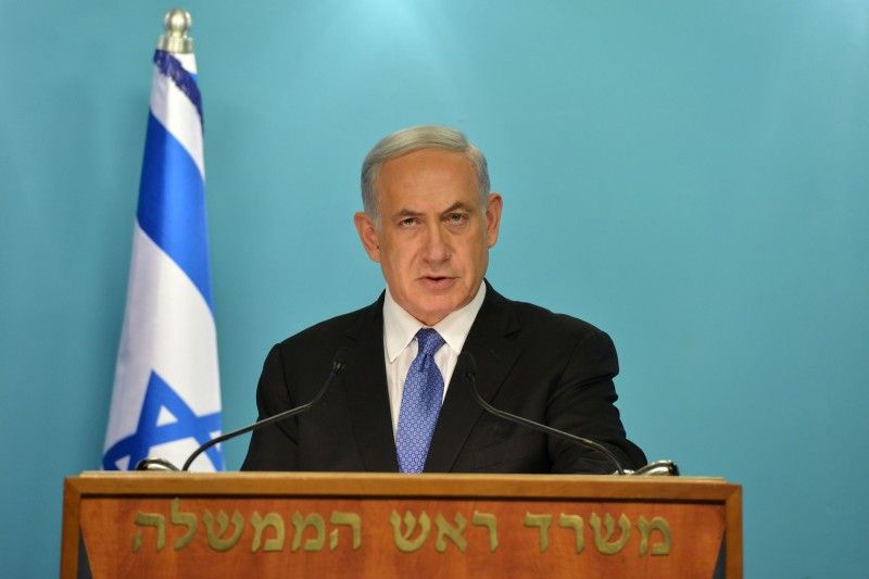 JERUSALEM, ISRAEL - APRIL 3:  (ISRAEL OUT) In this handout provided by the Israeli Government Press Office, Israel Prime Minister Benjamin Netanyahu (R) delivers a statement to the press on April 3, 2015 in Jerusalem, Israel.  Netanyahu delivered a speach discussing a pending nuclear deal with Iran.   (Photo by Kobi Gideon /GPO via Getty Images)