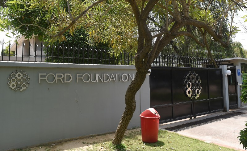 The Ford Foundation logo is pictured outside its office in New Delhi on April 24, 2015.  India has cracked down on the Ford Foundation, saying the US charity can no longer give money to local organisations without government permission, the latest move against a foreign NGO, an official said. AFP PHOTO / PRAKASH SINGH        (Photo credit should read PRAKASH SINGH/AFP/Getty Images)