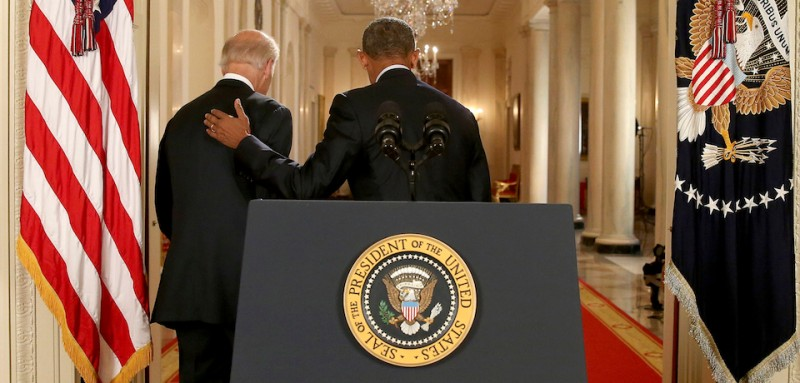 WASHINGTON, DC - JULY 14:  President Barack Obama leaves with Vice President Joe Biden after conducting a press conference  in the East Room of the White House in response to the Iran Nuclear Deal, on July 14, 2015 in Washington, DC. The landmark deal will limit Iran's nuclear program in exchange for relief from international sanctions. The agreement, which comes after almost two years of diplomacy, has also been praised by Iranian President Hassan Rouhani. (Photo by Andrew Harnik - Pool/Getty Images)
