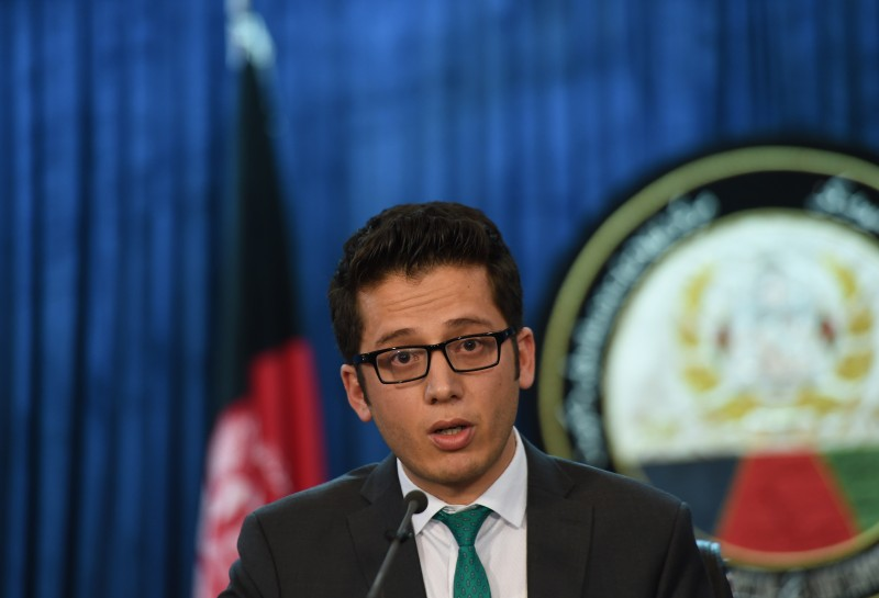 Deputy presidential spokesman Zafar Hashimi speaks during a press conference in Kabul on July 29, 2015. The Afghan government is investigating reports of the death of Taliban supremo Mullah Omar, a presidential spokesman said on July 29, amid frenzied speculation about the rumoured demise of the reclusive warrior-cleric. The Taliban have not officially confirmed the death of Mullah Omar, who has not been seen publicly since the 2001 US-led invasion of Afghanistan toppled the Taliban government in Kabul.  AFP PHOTO / SHAH Marai        (Photo credit should read SHAH MARAI/AFP/Getty Images)