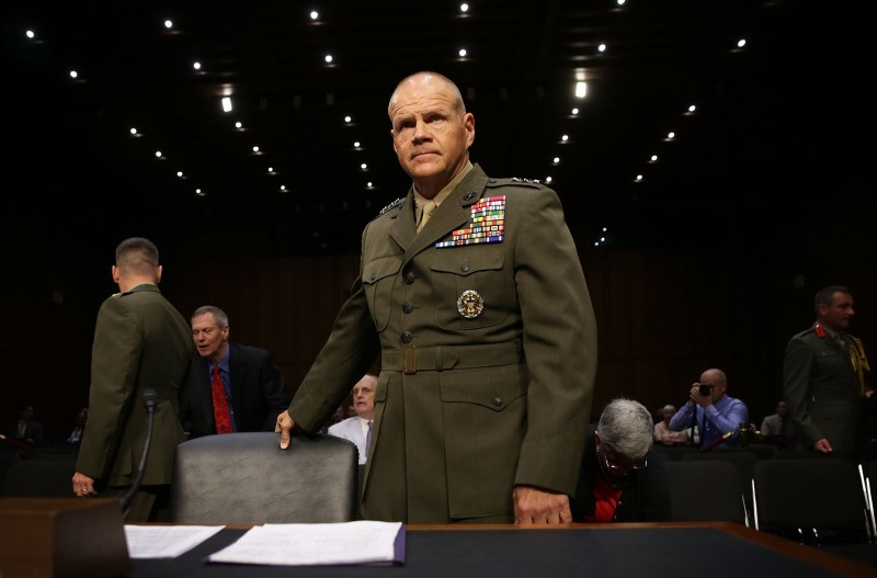 WASHINGTON, DC - JULY 23:  Lt. Gen. Robert Neller takes his seat during his confirmation hearing before the Senate Armed Services Committee July 23, 2015 on Capitol Hill in Washington, DC. Neller, who commanded troops in Iraq from 2005 to 2007, is the Obama Administration's choice to succeed Gen. Joseph Dunford as 37th commandant of the Marine Corps.  (Photo by Alex Wong/Getty Images)