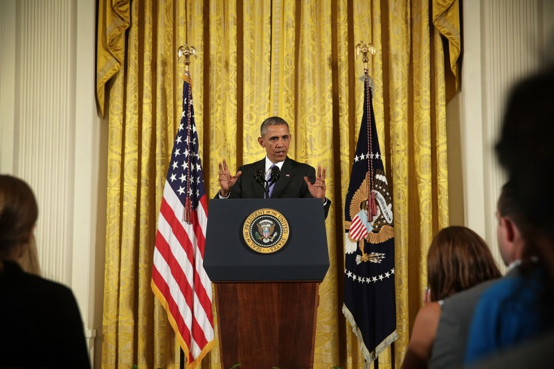 WASHINGTON, DC - JULY 15:  U.S President Barack Obama speaks during a press conference in the East Room of the White House in response to the Iran Nuclear Deal on July 15, 2015 in Washington, DC. The landmark deal will limit Iran's nuclear program in exchange for relief from international sanctions. The agreement, which comes after almost two years of diplomacy, has also been praised by Iranian President Hassan Rouhani but condemned by Israeli Prime Minister Benjamin Netanyahu.  (Photo by Alex Wong/Getty Images)