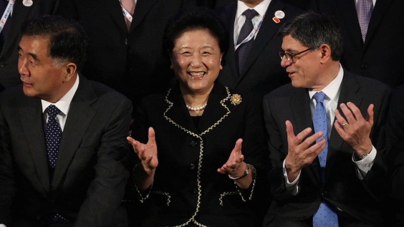 WASHINGTON, DC - JUNE 23:  (L-R) Chinese Vice Premier Wang Yang, Chinese Vice Premier Liu Yandong, and U.S. Secretary of the Treasury Jacob Lew, after they participated in a family photo during the Strategic and Economic Dialogue (S&ED), and Consultation on People-to-People Exchange (CPE) June 23, 2015 at the State Department in Washington, DC. Officials from both countries participated in the seventh annual U.S. - China Strategic and Economic Dialogue to discuss bilateral issues.  (Photo by Alex Wong/Getty Images)
