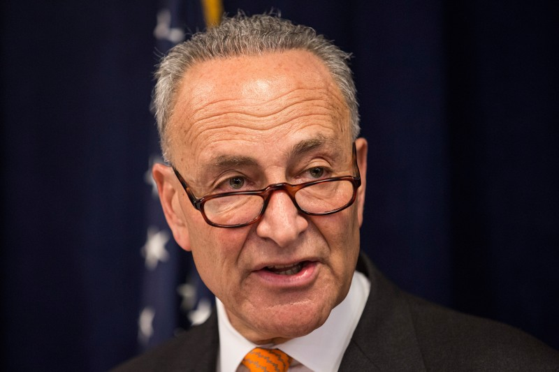 "NEW YORK, NY - AUGUST 03:  U.S. Senator Chuck Schumer (D-NY) speaks at a press conference with Comedian Amy Schumer calling for tighter gun laws in an effort to stop mass shootings and gun violence on August 3, 2015 in New York City. A gunman killed two women last month in Louisiana during a showing of Schumer's movie ""Trainwreck.""  (Photo by Andrew Burton/Getty Images)"