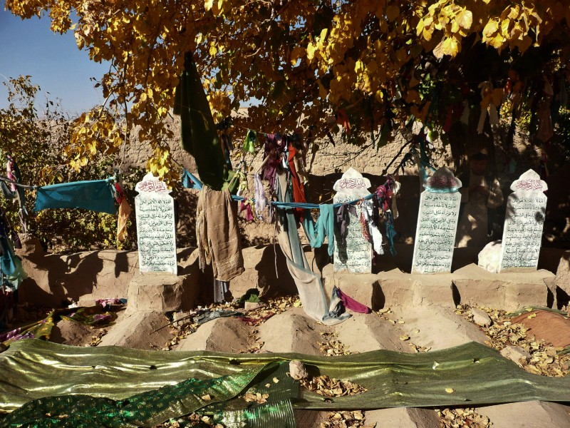 Grave stones of some of the sixteen Afghan villagers who were killed in the March massacre are pictured in the grave-yard in Panjwai district of Kandahar province on November 4, 2012.  A US soldier accused of killing 16 Afghan villagers is due in court Monday for the first time since the March massacre, in a pre-trial hearing to decide if he should face a full court martial.  Staff Sergeant Robert Bales is expected to attend throughout the Nov 5-16 Article 32 hearing at Fort Lewis-McChord in the western state of Washington, base spokesman Gary Dangerfield told AFP.   AFP PHOTO/ Mamoon Durrani        (Photo credit should read Mamoon Durrani/AFP/Getty Images)