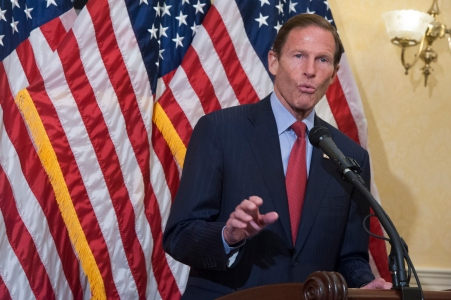 "WASHINGTON, DC - AUGUST 05: Senator Richard Blumenthal(D-Conn) speaks during a news conference to discuss opposition to H.R. 1599 on August 5, 2015 in Washington, DC. H.R.1599, known as the ""Deny Americans the Right to Know (DARK),"" which would ""take away the right of states to label Genetically Modified Organisms, stop the Food and Drug Administration from ever using its authority to craft a national GMO labeling standard, and add to consumer confusion by allowing 'natural' claims on GMO foods."" (Photo by Kris Connor/Getty Images)"