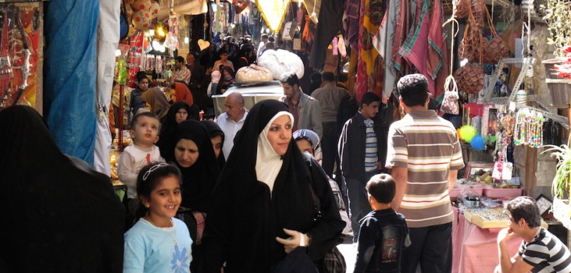 Iranians crowd the Emam Zadeh Davod bazaar, some 25 kilometers west of the capital Tehran, on September 19, 2010. AFP PHOTO/ATTA KENARE AFP PHOTO/ATTA KENARE (Photo credit should read ATTA KENARE/AFP/Getty Images)