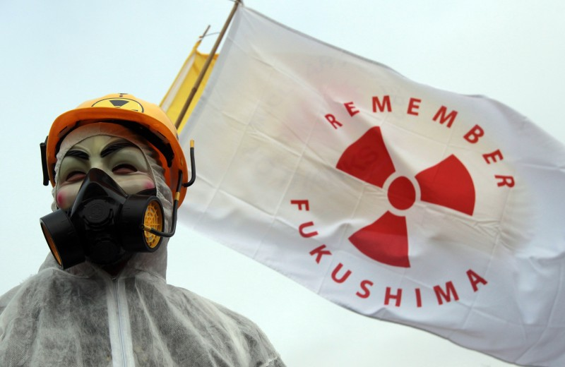 BRIDGWATER, ENGLAND - MARCH 10:  A masked protester stands in front of flags at the gates to the Hinkley Point nuclear power station to mark the first anniversary of the Fukushima disaster in Japan on March 10, 2012 near Bridgwater, England. Protestors planned to blockade the site at Hinkley,  which is located on the Bristol Channel and has been earmarked for a potential new nuclear power station, for 24 hours starting today. (Photo by Matt Cardy/Getty Images)