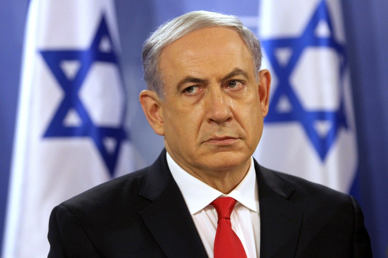 Israeli Prime Minister Benjamin Netanyahu pauses during a press conference at the Defence Ministry in Tel Aviv on July 28, 2014. Netanyahu said Israelis must be ready for a long military campaign in Gaza, after mortar fire from the enclave killed four people in the Jewish state. AFP PHOTO/GIL COHEN-MAGEN        (Photo credit should read GIL COHEN MAGEN/AFP/Getty Images)