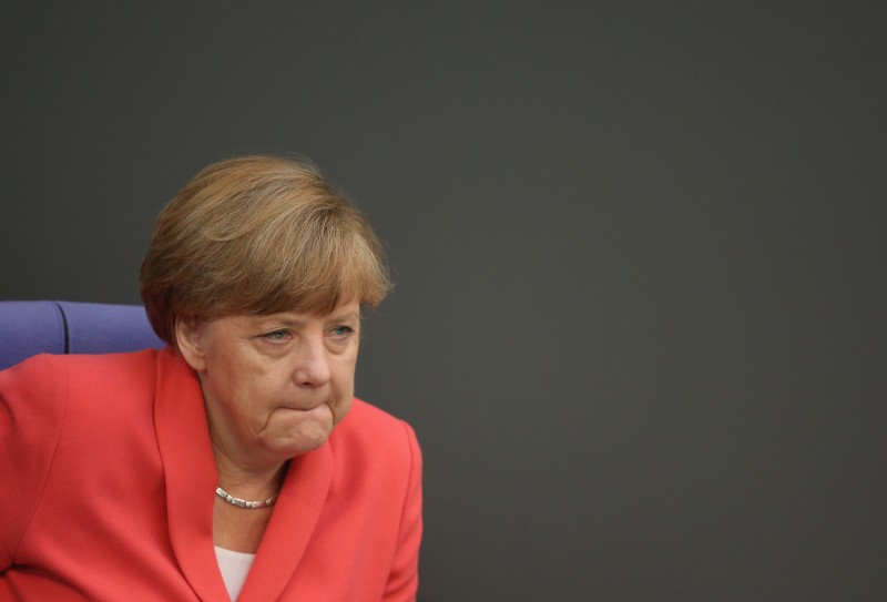 BERLIN, GERMANY - JULY 17:  German Chancellor Angela Merkel attends debates prior to a vote over the third EU financial aid package to Greece at an extraordinary session of the German parliament, the Bundestag, on July 17, 2015 in Berlin, Germany. The Bundestag is among several European parliaments that must vote on whether to allow negotations over the aid package that will help Greece to avert state bankruptcy and shore up the Greek banking system.  (Photo by Sean Gallup/Getty Images)