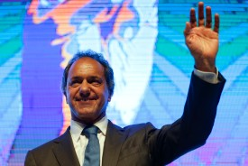 BUENOS AIRES, ARGENTINA - JULY 29: Daniel Scioli, Governor of Buenos Aires and Presidential pre-candidate, smiles during a conference about local government and development at Costa Salguero Centre on July 29, 2015 in Buenos Aires, Argentina. Presidential candidate Daniel Scioli announced that in case he was elected president of Argentina next October 25th, he would create a Minister of Municipalities as former president Lula da Silva did on Brazil. (Photo by Gabriel Rossi/LatinContent/Getty Images)