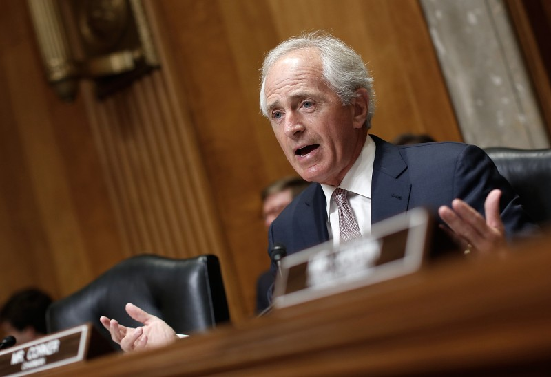 "WASHINGTON, DC - AUGUST 06:  Committee Chairman Sen. Bob Corker (R-TN) speaks on U.S. President Barack Obama's remarks on the Iran nuclear deal prior to a hearing held by the Senate Foreign Relations Committee August 6, 2015 in Washington, DC. The committee heard testimony on the ""Review of the 2015 Trafficking in Persons Report.""  (Photo by Win McNamee/Getty Images)"