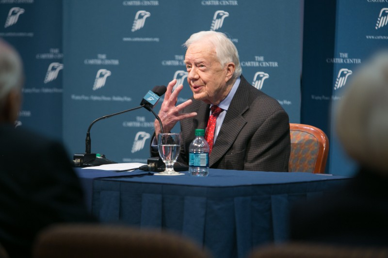ATLANTA, GA - AUGUST 20:  Former President Jimmy Carter talks about a mask created for his cancer treatments during a press conference at the Carter Center on August 20, 2015 in Atlanta, Georgia. Carter confirmed that he has melanoma that has spread to his liver and brain and will start treatment today.  (Photo by Jessica McGowan/Getty Images)