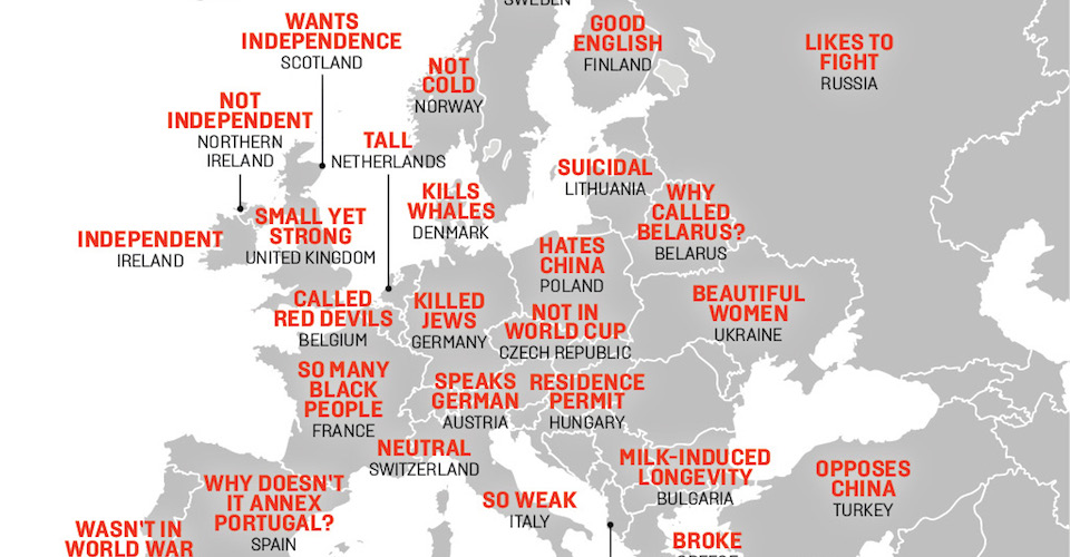 This Map Shows China's Hilarious Stereotypes of Europe – Foreign ...