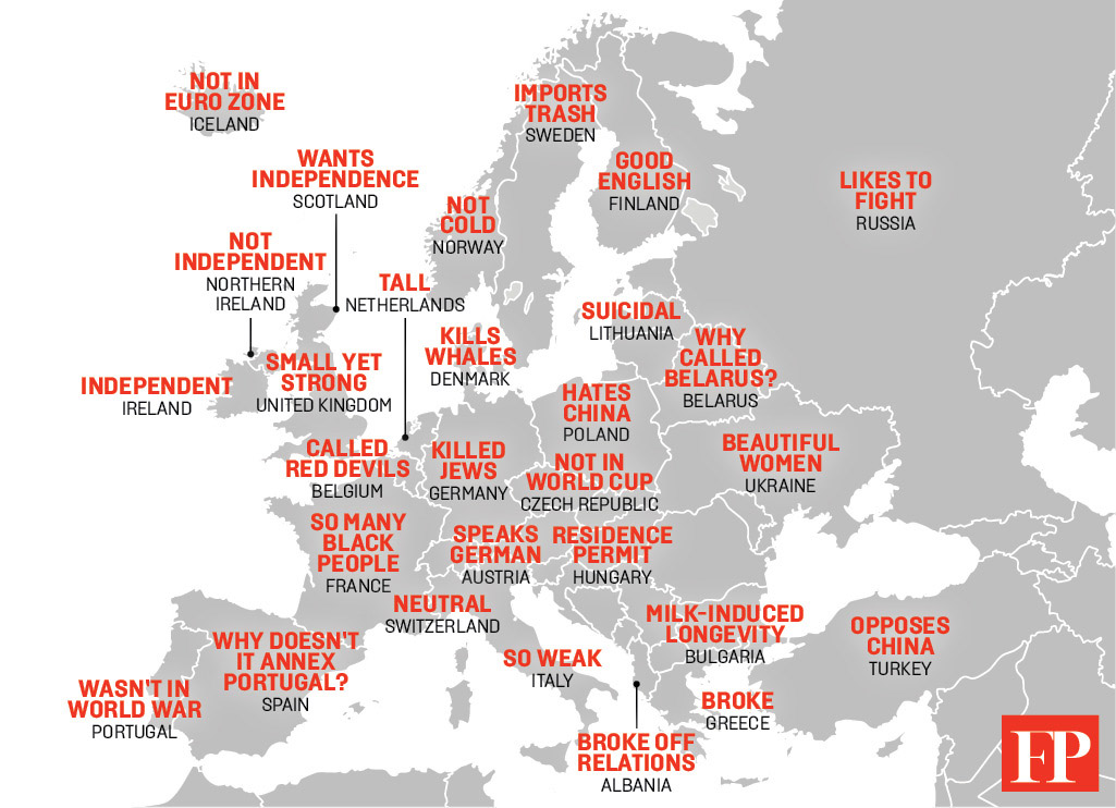 map of europe and china This Map Shows China's Hilarious Stereotypes of Europe – Foreign