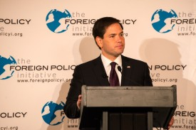 NEW YORK, NY - AUGUST 14: : Republican presidential candidate Sen. Marco Rubio (R-FL) speaks during a speech hosted by the Foreign Policy Initiative at the 3 West Club on August 14, 2015 in New York City. Senator Rubio, criticized President Obama's recent nuclear deal with Iran as well as the opening of relations with Cuba and presented his foreign policy if elected President.  (Photo by Bryan Thomas/Getty Images)