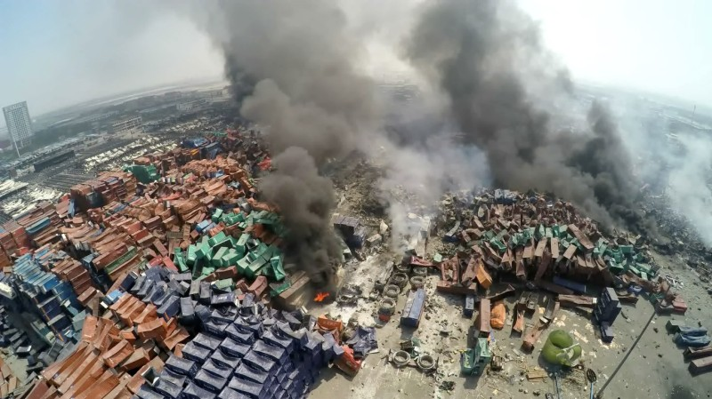 TIANJIN, CHINA - AUGUST 13: (CHINA OUT) A screenshot of a video showing the aftermath of the Tianjin's warehouse explosion site on August 13, 2015 in Tianjin, China. The death toll from Wednesday warehouse explosions in Tianjin rose to 50 Thursday evening, 17 of whom were firemen, local authorities said.  (Photo by ChinaFotoPress/ChinaFotoPress via Getty Images)