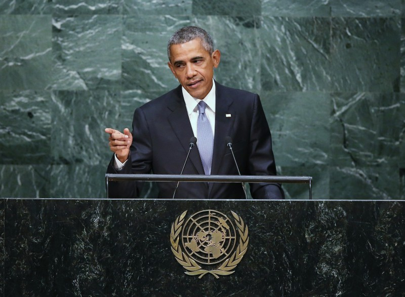 NEW YORK, NY - SEPTEMBER 28:  U.S. President Barack Obama addresses the UN General Assembly on September 28, 2015 in New York City. World leaders gathered for the 70th session of the annual meeting.  (Photo by John Moore/Getty Images)
