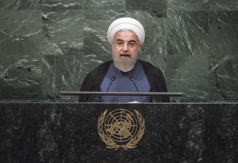 NEW YORK, USA - SEPTEMBER 28 :  President of Iran Hassan Rouhani speaks during the opening of the 70th session of the United Nations General Assembly at the U.N. headquarters in New York on September 28, 2015. (Photo by UN Photo/Cia Pak/Pool/Anadolu Agency/Getty Images)