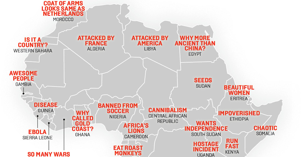 Map: China's Stereotypes of Africa, from 'Chaotic' Somalia ... on world map by country, map of iran, map of saudi arabia, map of city, map of middle east countries, map of guatemala, map of united kingdom, map of romania, map of europe today, map of philippines, map of austria, map of countries with the globe, map of nigeria, map of china, map of countries with dictators, map of indonesia, map of yemen, map of pakistan, map with countries of the earth,