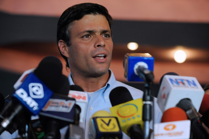 Venezuelan opposition leader Leopoldo Lopez speaks during a press in Caracas, on October 18, 2011. The Venezuelan Supreme Court ruled on Monday that Venezuelan opposition leader Leopoldo Lopez, disabled since 2005, could be presented to the presidential elections of 2012, but in case of victory his inauguration would be uncertain, posing a difficult situation for the opposition. AFP PHOTO/Leo RAMIREZ (Photo credit should read LEO RAMIREZ/AFP/Getty Images)